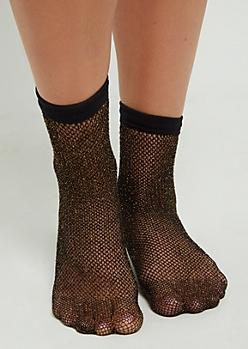 Gold Threaded Fishnet Socks