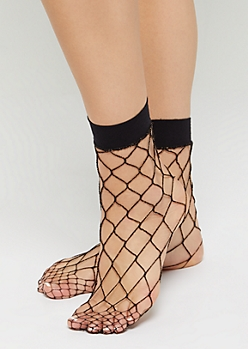 Golden Threaded Exploded Fishnet Socks