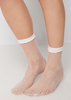 White Fishnet Anklet Socks