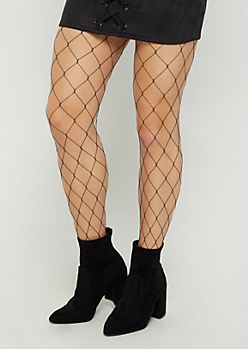 Dark Olive Exploded Fishnet Tights