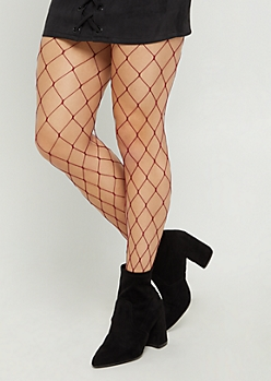 Burgundy Exploded Fishnet Tights