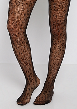 Leopard Fishnet Tights
