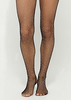 Black Stone Encrusted Fishnet Tights