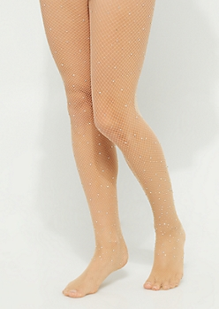 Nude Stone Encrusted Fishnet Tights