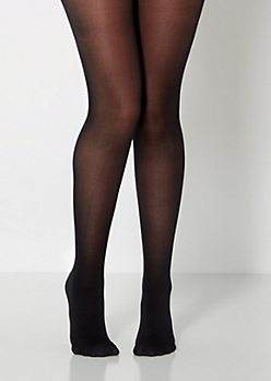 Black Opaque Microfiber Tights