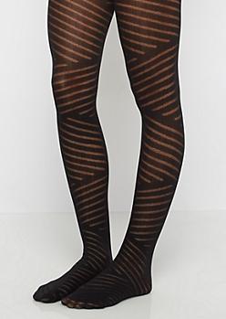Black Stripe Patterned Tights