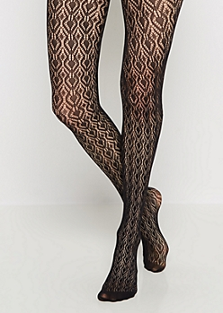 Diamond Medallion Crochet Tights