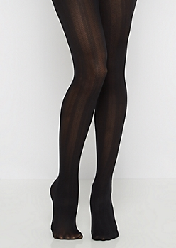 Black Vertically Striped Tights