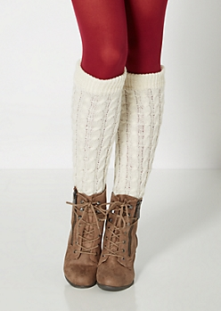 Ivory Ribbed Cable Knit Leg Warmers