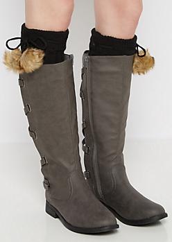 Black Furry Pom Pom Leg Warmers