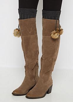 Charcoal Furry Pom Pom Leg Warmers