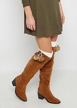 Ivory Furry Pom Pom Leg Warmers