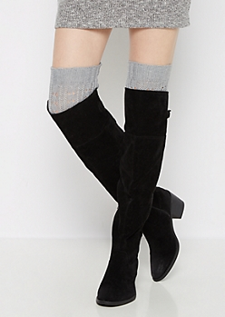 Gray Openwork Ribbed Leg Warmers
