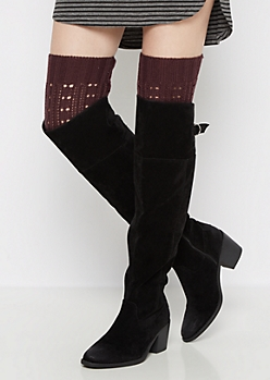 Burgundy Openwork Ribbed Leg Warmers
