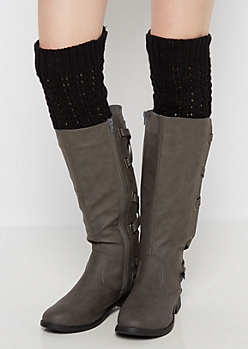 Black Cable Ribbed Leg Warmers