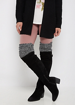 Black Marled Knit Over-The-Knee Leg Warmers
