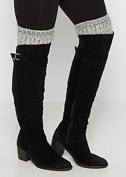 Charcoal Marled Knit Over-The-Knee Leg Warmers
