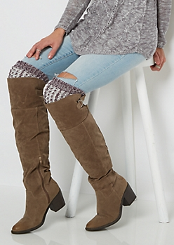 Plum Marled Knit Over-The-Knee Leg Warmers