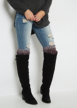 Burgundy Marled Knit Over-The-Knee Leg Warmers