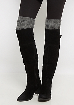 Light Grey Sweater Knit Over-The-Knee Leg Warmers