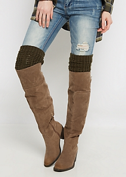Olive Sweater Knit Over-The-Knee Leg Warmers