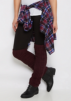 Burgundy Sweater Knit Over-The-Knee Leg Warmers