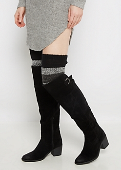 Black Marled Striped Over-The-Knee Leg Warmers
