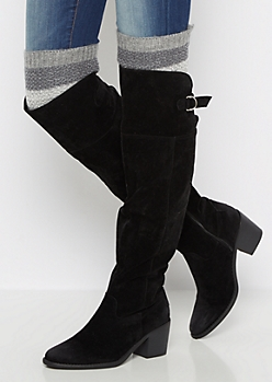 Grey Marled Striped Over-The-Knee Leg Warmers