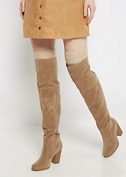 Ivory Marled Striped Over-The-Knee Leg Warmers
