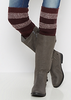 Burgundy Marled Striped Over-The-Knee Leg Warmers