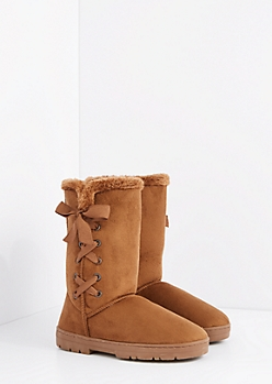 Camel Lace Up Bow Solemate Boot