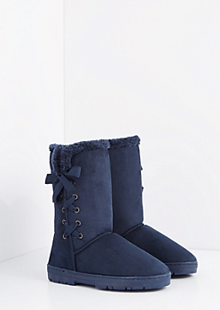 Navy Lace Up Bow Solemate Boot