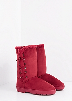Burgundy Lace Up Bow Solemate Boot
