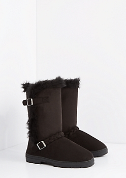 Black Braided Buckle Solemate Boot