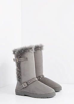 Gray Braided Buckle Solemate Boot