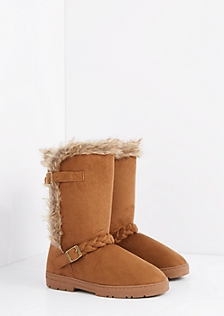 Brown Braided Buckle Solemate Boot