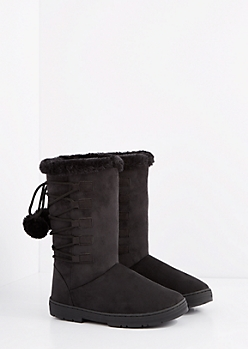 Black Lace-Up Pom Solemate Boot