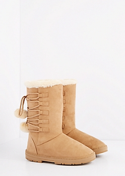 Sand Lace-Up Pom Solemate Boot