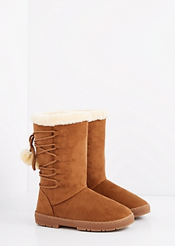 Camel Lace-Up Pom Solemate Boot