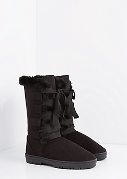 Black Lace Up Ribbon Solemate Boot