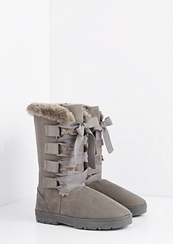 Gray Lace Up Ribbon Solemate Boot
