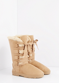 Taupe Lace Up Ribbon Solemate Boot