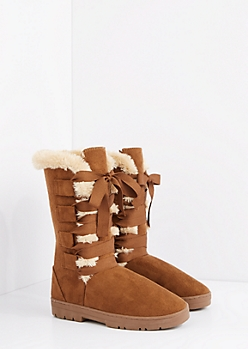 Camel Lace Up Ribbon Solemate Boot