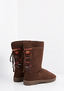 Chocolate Lace Up Tribal Loom Solemate Boot
