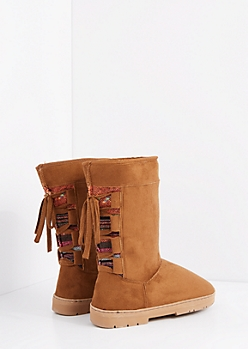 Cognac Lace Up Tribal Loom Solemate Boot