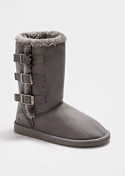 Gray Triple Buckle Fuzzy Solemate