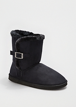 Black Buckled Faux Fur Solemate