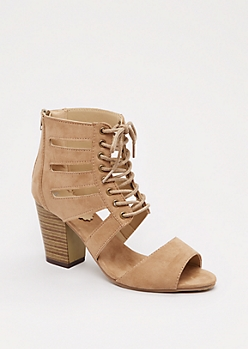 Taupe Cut-Out Stacked Heel