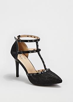 Glittering Black Studded T-Strap Heel
