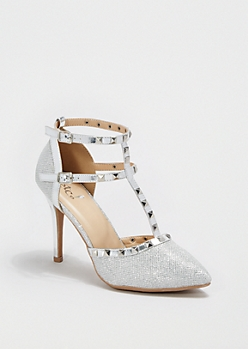 Glittering Silver Studded T-Strap Heel
